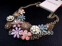 2013New daisy sunflowers Female Pendant necklace Fake collar short necklace,Free shipping