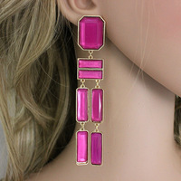Free Shipping  Super long statement earrings india jewelry pink acrylic E278