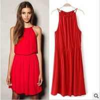Promotion 2013 brand new Fashion Chiffon skirt,women dress,European Za solid color chiffon camisole halter sleeveless with belt