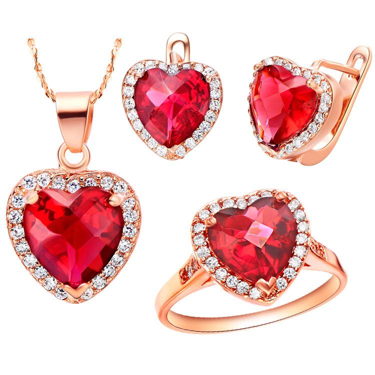 S60044 anneau taille 6789 rubis ensemble de bijoux turque bijoux mariage nigériane perles africains ensemble de bijoux en cristal mainstone 9 mm * 9 mm(China (Mainland))