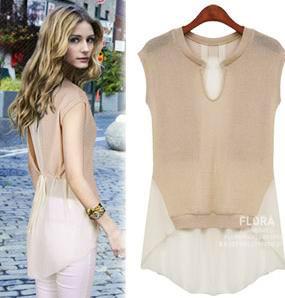 Summer patchwork chiffon shirt short-sleeve top female slim waist slim medium-long plus size clothing