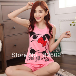 Free shipping Ladies sleepwear Cartoon cute high quality pure cotton sleeveless vest pyjamas + shorts(China (Mainland))
