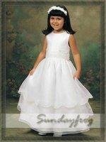 Free Shipping Custom Made Ruffle A-Line Flower Girl Dress Floor-length Organza First Communion Dress Wedding Party Dress -FL136