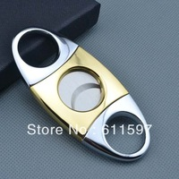 Hot selling ! centre is golden color and silver color  both end dual Blades Cigar Cutter