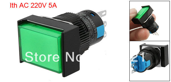 Rectangle Green Cap 1NO 1NC Type Push Button Switch AC 220V(China (Mainland))