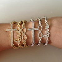 (Min.$10-mix order) 2013 new stacked bracelet set in 6pcs multilayer handmade CCB bead elastic bracelet with infinity cross love