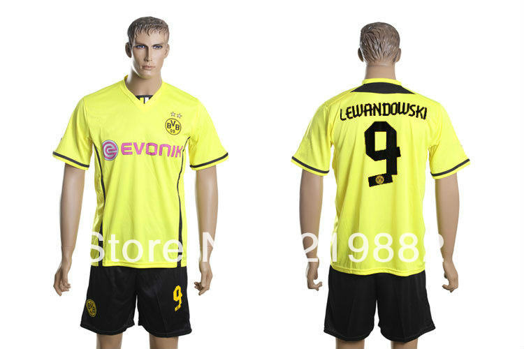 Free shipping #9 Lewandowski 13-14 Dortmund home Yellow Soccer Kit Jersey Soccer Jerseys +shorts football uniforms(China (Mainland))
