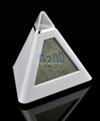 Cheap 3Pcs/Lot 7 LED Color Triangle Pyramid Desk Digital LCD Alarm Clock Thermometer TK0614(China (Mainland))
