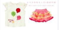 2013 New Wholesale princess ice cream Summer 2-pcs baby girls clothes set(T-shirt+Gauze cake skirt),5 set/lot,Free Shipping