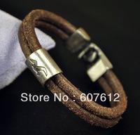 Surfer Vintage Double 5mm Genuine Leather Bracelet Wristband Men's Cool Eagle Brown B