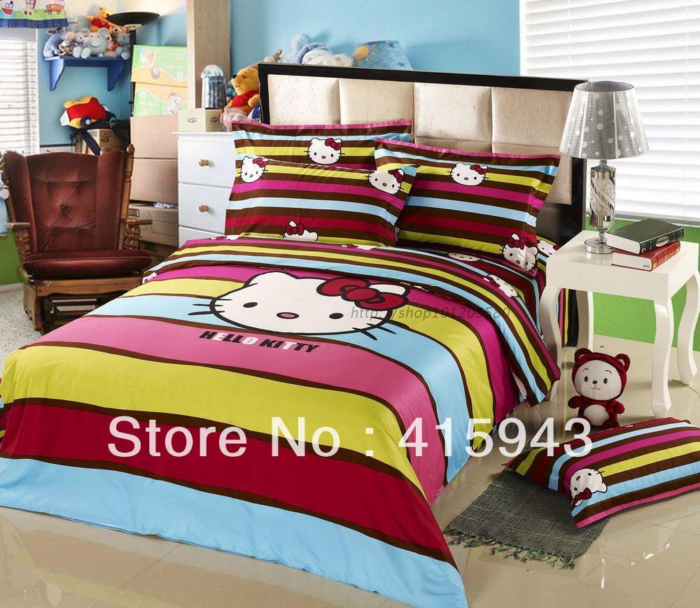 Hello kitty queen bed set - Bed Set Kids Free Shipping Hello Kitty Queen Size Bedding Bed Sheet Cotton Comforter Set Duvet Cover Set
