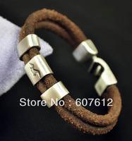 Surfer Vintage Double 5mm Genuine Leather Bracelet Wristband Men's Cool Eagle Brown