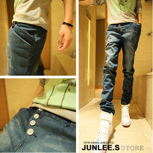 Whole store FREE SHIPPING 2013 Male Jeans Button Slim Denim Trousers Harem Pants Men's Clothing Wholesale Drop shipping(China (Mainland))