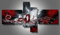 4pc/1Set Huge Modern Abstract on Canvas Oil Painting Art (No Frames) SIZE : 8inchx32inchx2p;16inchx24inchx2p/ Free Shipping