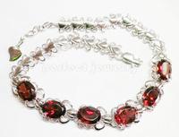 Garnet bracelet Free shipping Natural garnet  925 sterling silver Red gems  Chain bracelet Wholesale 6pcs gems