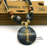 High quality 0065 fashion boy's ornament restro cross OX bone round pendant necklace woven rope chain wood bead wholesale