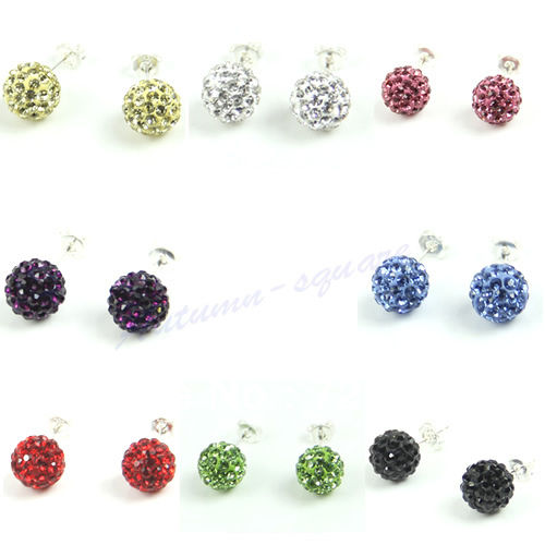Free Shipping 5pairs/lot Sparkle Round Crystal Ball Stud Shamballa Earring 8 Colors(China (Mainland))