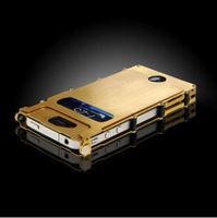 Luxury Golden Color Stainless Steel Case for Iphone 5/5S with 360 Rotating Flip Cover, Free Shipping+Screen Protector+Stylus Pen
