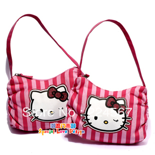 hello kitty handbag women+Pink stripes hello kitty wholesale china(China (Mainland))