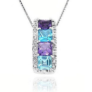 Fashion beautiful multicolour blend of natural amethyst topaz stone pendant necklace female s925 pure silver jewelry(China (Mainland))