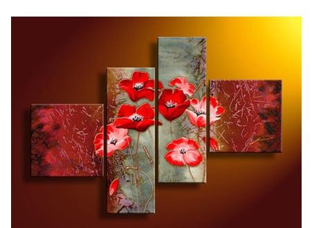 4 Piece Wall Art No Framed modernos abstrata acrílica Flor papoilas vermelhas Pintura a óleo sobre tela Espátula Para Home Decor(China (Mainland))