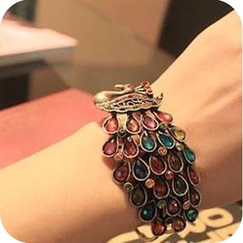 Min order is $10 Wholesale Fashion Vivid Peacock Bracelets Rinestone Peacock Bracelets Jewelry Free Shipping