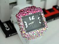 Square Rhinestone Analog watch Colorful diamond Silicone Strap Quartz watches for women
