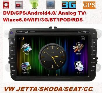 Free Shipping 8inch 2Din Android 4.0 VW JETTA/SKODA/SEAT/ CC 2006-2012 Car DVD Player PIP 3D UI GPS WIFI 3G TV BT