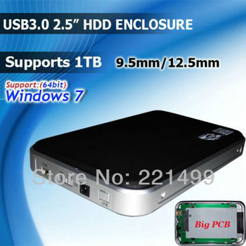 "[FREE SHIPPING/EPACKET!]2.5"" SATA USB3.0 External 12.5mm supports 1TB HDD Hard Disk Enclosure case Box"