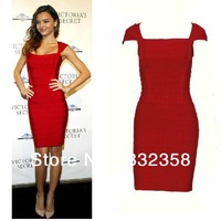 Free Shipping Star Favor Brand Elastic Knitting Red Bandage Dress Ladies Sexy Evening Dress