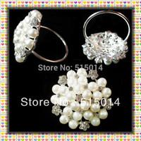 Free Shipping !Flower Pearl Wedding Rhinestone Napkin Ring,Rhinestone Holders /Wholesale