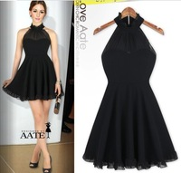 2013 High Quality European Royal Style Stand collar Sexy Black elegant dress Halter Sleeveless dress for ladies' free shipping