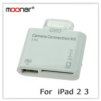 1PCS /LOT Mini 2 in 1 SD (HC) Card Reader With USB and Memory Card Ports Camera Connection Kit for Ipad 2 3 DA0120