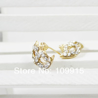 50pcs/lot of New Gold Color Masquerade Full Crystal Rhinestone Mask Fox Ear Studs Earrings LKE0177J Free Shipping dropshipping