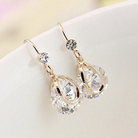 New Fashion High Quality Waterdrop Shaped Dangling Zircon Drop Earrings for Women Ladies Gold Plated Zircon Earrings Jewelry Hot