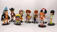 2013 New PVC  4ch 10cm One Piece Action Figures  the Straw Hats 9pcs/set  Luffy/Roronoa/Zoro/Sanji/Chopper free shipping