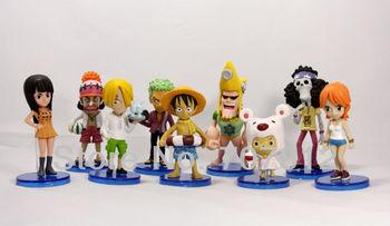 2013 New Arrival PVC 10cm One Piece Action Figures Nami/Luffy/Roronoa/Zoro/Sanji/Chopper  9pcs/set  free shipping