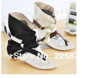 The new 2013 han edition Li Xiaoli leisure zone within the grid cloth clip toe flat Roman sandals color cool boots
