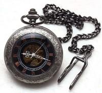 Punk Jet Black Roman Number Mechanical Pocket Watch , 6 pcs/lot