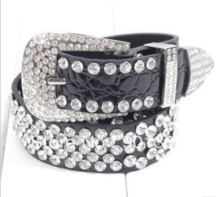 Cowhide Rhinestone Strap Women's Water Ripple  Leather Belt Fashion Diamond Decoration Waist Belt