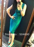Hot Selling HL Bandage Dresses Sexy Party Dress New Arrival 2013 Evening Dress Fashion V Neck Knee Length Women Dress Green