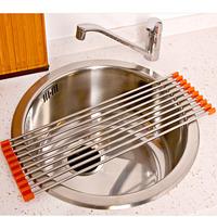 Stainless steel sink drain basket drain rack multifunctional folding dish rack shelf (KP-TP)