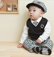 Free shipping!Retail, Baby Romper ,new baby boys gentleman romper kids long sleeve jumpsuits infants wear cotton clothes