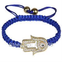 Free shipping! New arrival men's bracelets fatima hand with evil eye bracelet, handmade shamballa bracelets