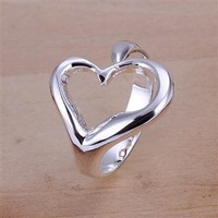 Fast/Free shipping Super price Trendy gift Silver 925 rings jewelry Fashion Cute opened Heart Design ring