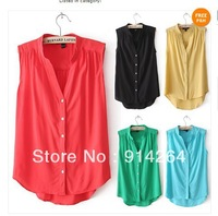 New Fashion Womens Stand-up Collar V-neck Leisure Sleeveless Shirt Blouse Tops   free shipping