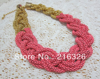 Free shipping *fashion and new neon painted chains weave necklace with gold plating