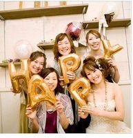 free shipping 30pcs /lot fashion the aluminum film letter balloon, wedding or happy birthday balloon, party decoration