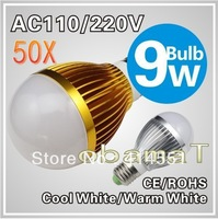 50X E27 9W LED bulb,Dimmable Bubble Ball Bulb AC85-265V ,E14 B22 GU10,silver/gold shell color,warm/cool white,3*3w +freeshipping