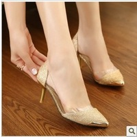 free shipping,2013 Euramerican metal pointed toe thin high heels women pumps,woman pumps,lady's shoes heels,gold silver black